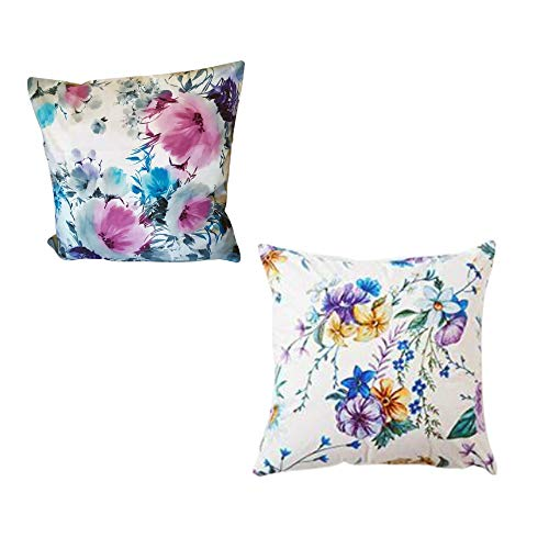 MONTANCHEZZ Confezione da 2 federe per cuscino, 45 x 45 cm, 45 x 45 cm, stampa digitale, texture setosa, stile moderno, motivo floreale lilla