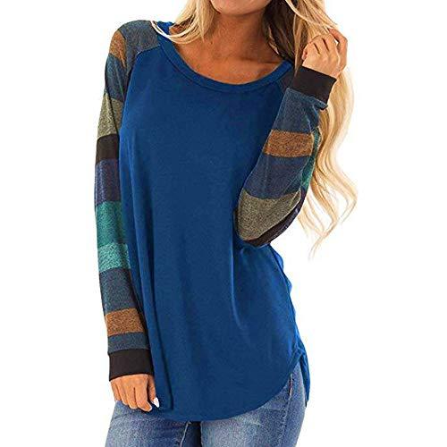 Camicetta Moda Donna Stripe Casual Top T Shirt Top Allentato Manica Lunga da Donna (S,5- Blu)