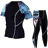 FENTINAYA Compresión Camisetas Pantalones Hombre Entrenamiento Leggings Fitness Deportes Gimnasio Correr Yoga Traje atlético
