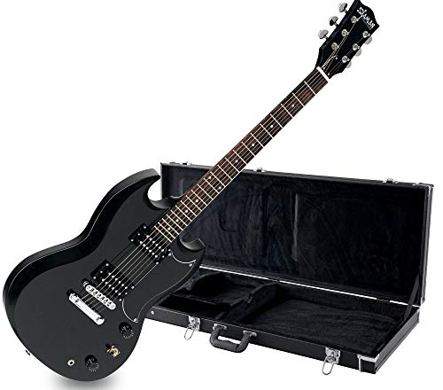 Shaman Element Series DCX-100B Koffer Set - Hochwertige E-Gitarre in Double Cut-Bauweise mit 2 Humbucker Pickups - inkl. Koffer - schwarz