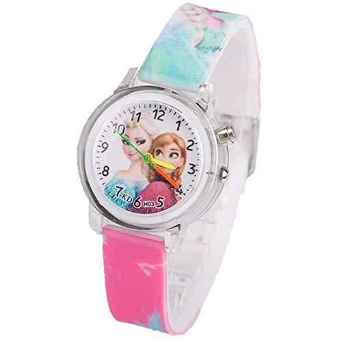 Armbanduhr für Mädchen, beleuchtet, Eiskönigin, Prinzessin Elsa Anna
