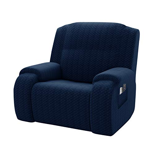 MAXIJIN Newest Recliner Slipcovers for Living Room 4 Pieces Stretch Jacquard Recliner Chair Cover Soft Fitted Recliner Protector with Elastic Bottom for Kids, Pets (Recliner, Navy Blue)