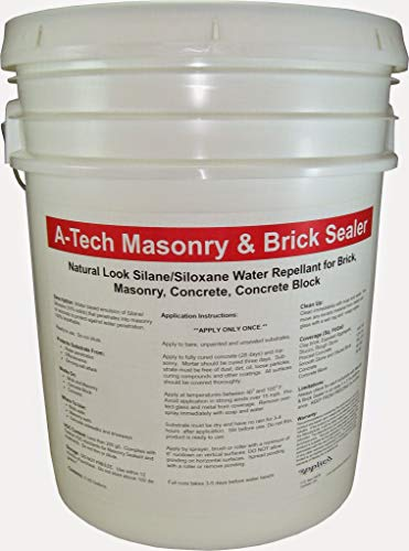 A-Tech Masonry & Brick Sealer 5 Gallon Pail-Natural Look Brick Waterproofing-Water-Based Silane/Siloxane-Eco-Friendly and Low VOC