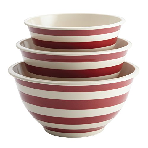 Paula Deen 46630 Pantryware Melamine Mixing Bowl Set, 3-Piece, Striped Red, Large