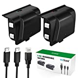 Xbox One Rechargeable Battery Pack, 2 x 1200 mAh Xbox One Controller Battery with 4FT Micro USB Cable and LED...