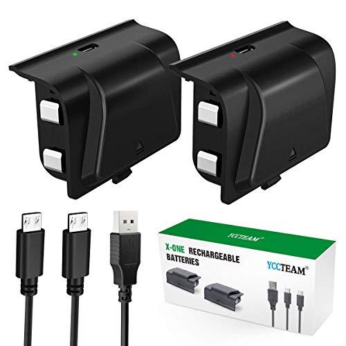 Xbox One - Batteria ricaricabile per Xbox One, 2 batterie da 1200 mAh, con cavo micro USB da 1,2 m e indicatore di ricarica a LED per controller wireless Xbox One/S/X/Elite