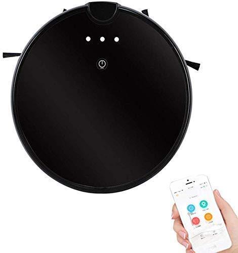 Robot Aspirador 3000PA, conectado APP, 650ml grande de la caja de polvo, Robotic Vacuum Cleaner, Límite Tiras incluido, Ideal for pelo del animal doméstico, suelos duros, alfombras, (Color: Negro) (Co