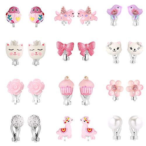 Powerking Ohrclips für Mädchen, Mädchenschmuck-Anziehohrringe und Prinzessin Play Ohrclips für Kinder, 12 Paare,Einhorn Bling