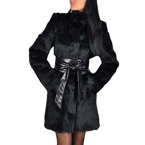 SUMTTER Pelzmantel Damen lang schwarz Dicke Wintermantel mit Gürtel Felljacke Frühling Kleidung Warm Gefüttert Sale