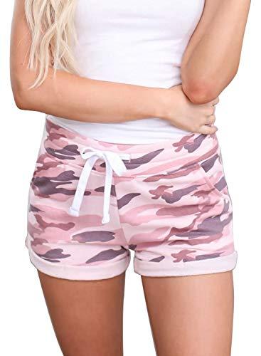 Acelitt Women's Ladies Summer Camo Shorts for Women Cmofy Soft Drawstring Elastic Waist Casual Fashion 2021 Beach Shorts for Women with Pockets Pink XL