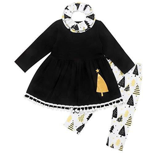 Toddler Kids Baby Girls Christmas Tassel Dress Cartoon Trees Print+Bib Outfits