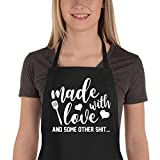 Saukore Funny Aprons for Women Men, Kitchen Chef Aprons with 2 Pockets for Cooking Baking, Cute Birthday, Valentines Day, Mother's Day Apron Gifts for Mom Wife Husband Girlfriend Aunt Grandma
