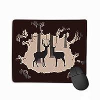 マウスパッド鹿Doeフォレストシルエットカップルカラー長方形ラバーマウスパッド
