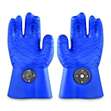 Heat Resistant Silicone BBQ Gloves – Ergonomic web fit allows for firm grip - Patented magnet safety clip allows for rapid release of one or both hands – Grip waves for pulling pork - No need for claw