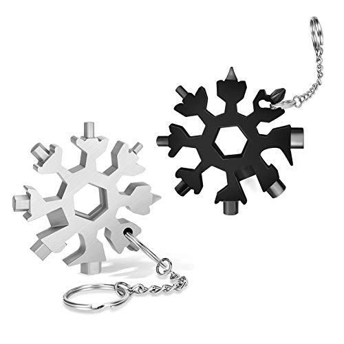 DOOGAXOO 18-in-1 Snowflake Multi Tool,Function Stainless Steel Bottle Opener/Wrench, Flat Cross Screwdriver Kit Snowflake, Outdoor Durable and Portable,Great Christmas Gift for Mens ( Sliver+Black)