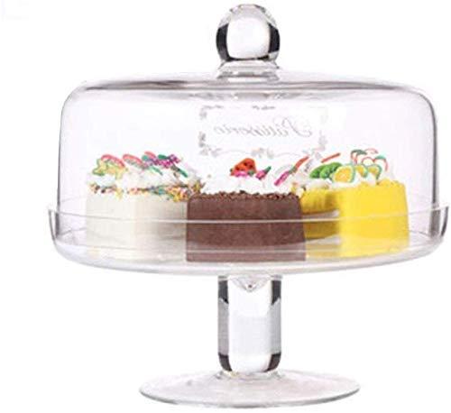Soporte para tartas Juego de tapa y plato de cristal para tartas, caja de tartas para el hogar Ensalada de verduras Cubierta de conservación Bandeja de barra de cúpula para el polvo Bandeja de degust
