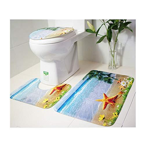 Makaor - Juego de Alfombrillas Antideslizantes para baño (3 Piezas, Alfombrilla de baño con Tapa, Alfombrilla de baño y Alfombrilla de baño)