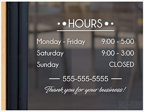 Sar54ryld - Calcomanía de horario de tienda, horario de operación, calcomanía para puerta de negocios, cartel personalizado abierto y cerrado, gráfico de ventana de horario de tienda