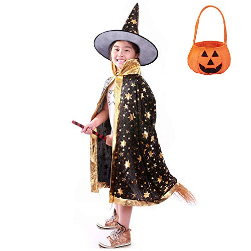 Jackcell Kinder Halloween Kostüm, Wizard Cape Witch Umhang mit Hut, Kürbis Candy Bag, Zauberer Mantel mit Requisiten für Jungen Mädchen Cosplay Party (Schwarz)
