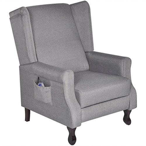Festnight Einstellbarer TV Massagesessel Relaxsessel mit Heizfunktion Stoff Sessel inkl. Fernbedienung Grau