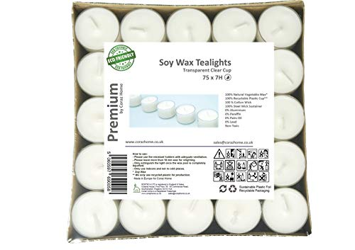 Premium Tealights Soy Wax 4 or 7 Hours Long Burning Time Pack of 75 or 100 Transparent Clear Cup Tea Lights White Wax Unscented Night Lights Candles Vegan Wax Non-Toxic