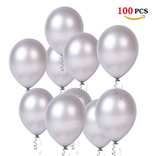 JOJOR 100 Stück Luftballons Silber, Latex Helium Ballon Silber Ø 30 cm für Geburtstag Hochzeit Graduierung Babydusche Weihnachten Karneval Party Deko