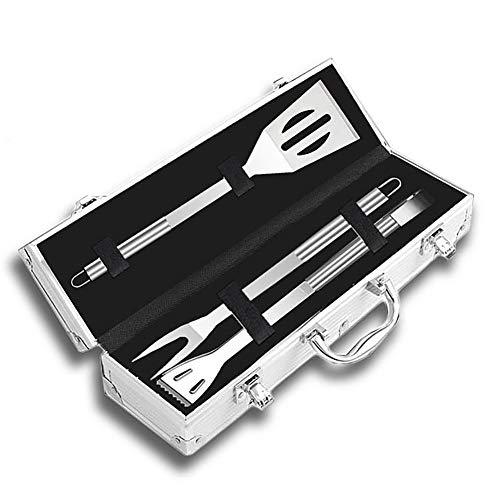 Radiancy Inc Barbecue Outils Accessoires Barbecue résistants de d'acier Inoxydable avec Le Cas de Stockage kit pour Barbecue de Voyage/Camping-Ustensile de Barbecue Parfait