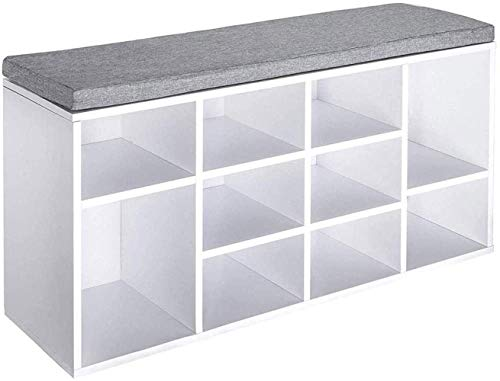 ZPZZPY Shoe Rack Bench with Padded Seat with Grey Cushion for Hallway, Bedroom, Living Room