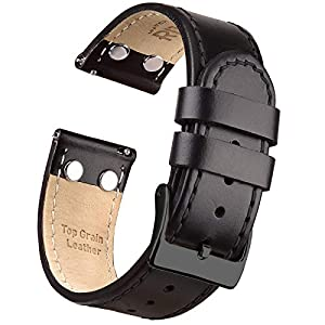 Ritche Quick Release Leather Watch Bands Top Grain Leather Watch Strap 18mm, 20mm or 22mm for Men Women