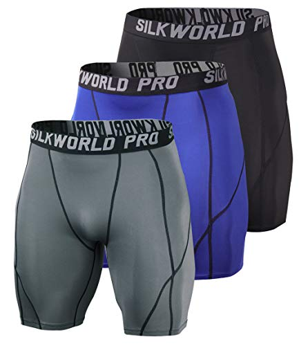 SILKWORLD Men's 3 Pack Running Tight Compression Shorts, Black, Grey, Navy Blue, M