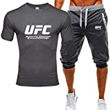 T-Shirt imprimé T-Shirts Et Shorts Adultes, Costume Sweatshirt MMA Imprimé UFC, Fans De Combat Classiques (Size : XXX-Large)