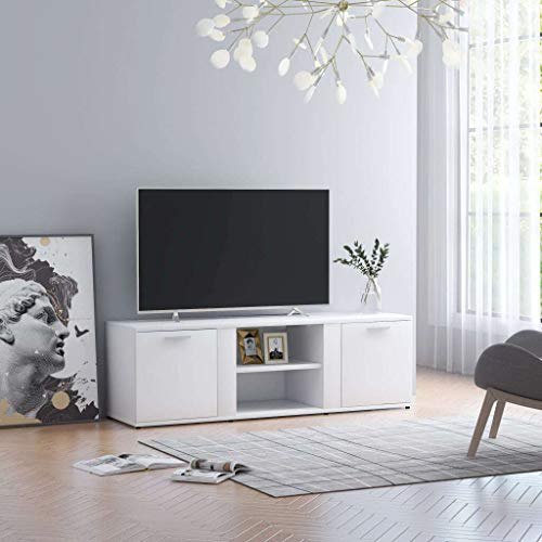 vidaXL Mueble para TV Mesa Salón Comedor Televisión Televisor Equipo de Música Armario Bajo Almacenaje Soporte de Aglomerado Blanco 120x34x37cm