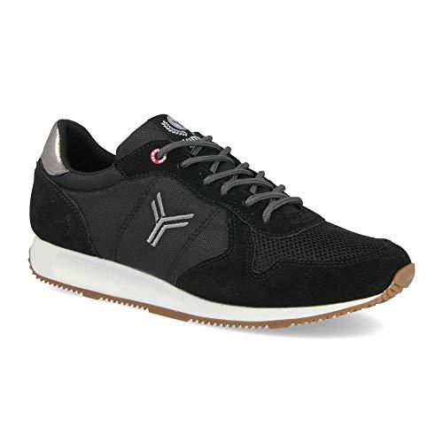 Zapatilla Sneaker Yumas Dublin Negro Rejilla Fabricado en Piel Serraje y nilon Plantilla Confort Latex para Hombre