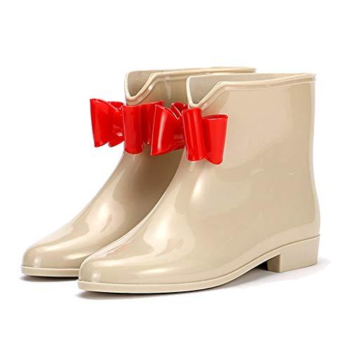 GDSSX Mujer de Las Botas del Tobillo Tubo Corto Botas de Lluvia Antideslizante Impermeable de la Moda Botas de Lluvia Outdoor (Color : Apricot, Size : 40)