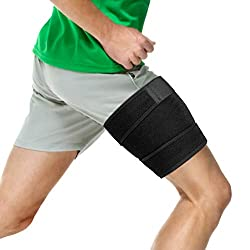 Thigh Support Brace, Hamstring Wrap Compression Sleeve with Anti-Slip Strip Support Thigh Quad Sprains, Tendonitis, Strains, Pulled Muscle Injury Rehab and Recovery, Fits Men and Women (Black)