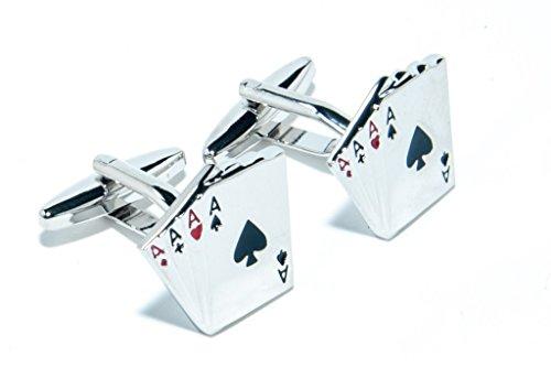 Jeff Jeffers Customs Quatre ACES Cartes DE Poker Mariage Argent Boutons DE Manchette Cuff Links, avec Sac Cadeau