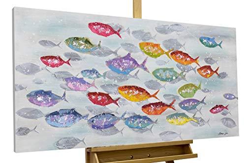 KunstLoft® Acryl Gemälde 'Surround me' 120x60cm | original handgemalte Leinwand Bilder XXL | Fische Tiere Bunt | Wandbild Acryl Bild Moderne Kunst einteilig mit Rahmen