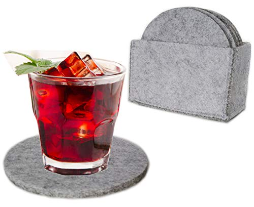 MIGHTY PEAKS - Juego de posavasos de cristal para bebidas, juego de 10 posavasos de fieltro, caja para mesa, bar, fiesta, jardín, festival, jarra de cristal, botellas, vasos, tazas, botellas d