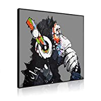 ポスター バンクシー Banksy チンパンジー アートパネル アートポスター フレーム ボーダー付きのキャンバスアート インテリア 壁掛け 飾り絵 装飾軽くて取り付けやすい 贈り物 (A, 40X40CM)