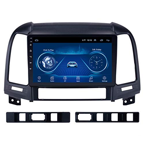 JALAL Navegador GPS para Coche Pantalla táctil Android para Hyundai Santa FE 2005-2012 Salida de Video Manos Libres Bluetooth Soporte de Enlace de Espejo de teléfono iOS y Android Entrada de cámara