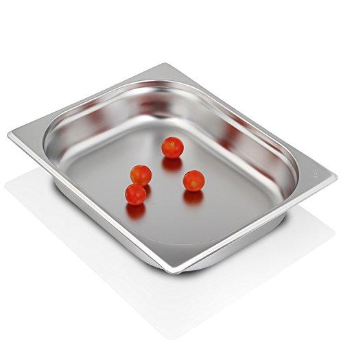 Greyfish GN-Behälter :: ungelocht :: für Gaggenau/Miele/Siemens Dampfgarer (Edelstahl/Spülmaschine geeignet, Gastronorm 1/2, B 32,5 x T 26,5 x H 6,5 cm)