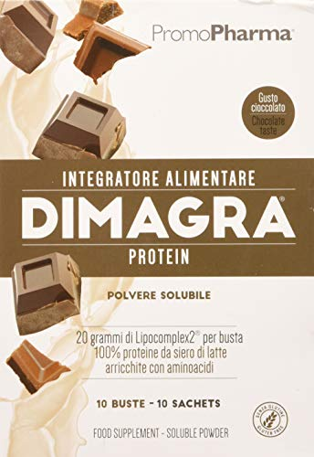 DIMAGRA PROTEIN CIOCCOLATO - PROTEINE WHEY arricchite con aminoacidi - Coadiuvante per il dimagrimento e per tenersi in forma - PROTEINE IN POLVERE