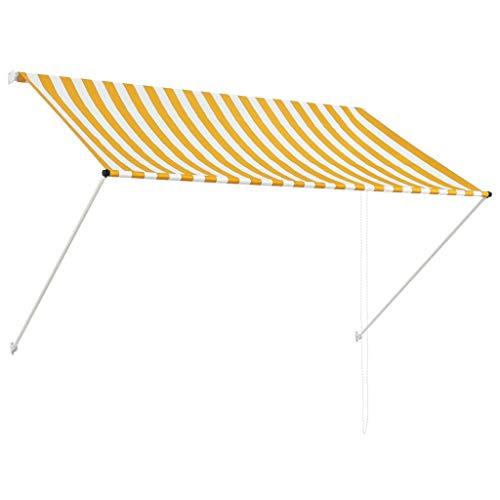 vidaXL Toldo Retráctil 200x150cm Amarillo/Blanco Parasol Ventana Terraza Hogar