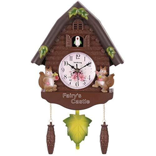 Cestbon Kuckucksuhr Wohnzimmer Wanduhr Vogel Kuckuckswecker Uhr Moderne Kurze Kinder Dekoration Tageszeit Alarm,Braun
