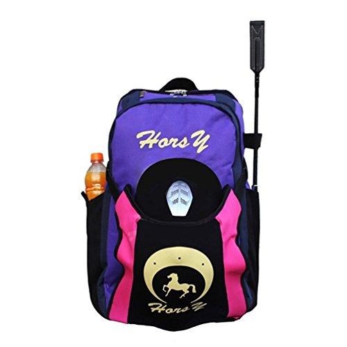Sport Tent-Professional Stiefeltasche Helmtasche Parent-Kind Rucksack für Reitstiefel Kombitasche Stiefelbeutel mit Helmfache (Kinder Edition, Lila)
