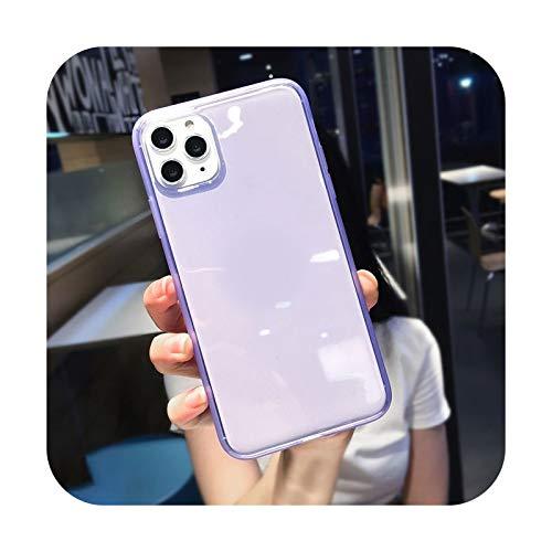 Transparente colorido a prueba de golpes marco caso del teléfono para el iPhone 12 11 Pro Max X XR XS Max 8 7 6S Plus suave TPU protección contraportada púrpura-Para iphone12MIni