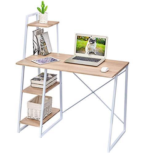 Escritorio de computadora con estantes, escritorio con estantes de almacenamiento Mesa de estudio Escritorio de oficina en casa con estantería para el hogar, haya (100 * 50 cm)