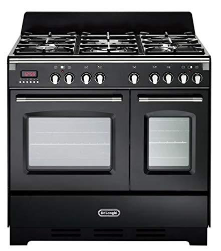 De Longhi MEM 965T NN ED - Cocina de gas con 5 fuegos y 2 hornos eléctricos ventilados, 90 x 60 cm, color antracita, línea Mastercook