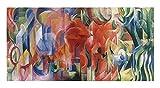Formas en juego de Franz Marc Cuadros Decoracion Salon Cuadros Para Dormitorios Modernos Lienzos Decorativos Cuadros Para Cabeceros De Cama (80x160cm (31.5x62.9in), Sin Marco)