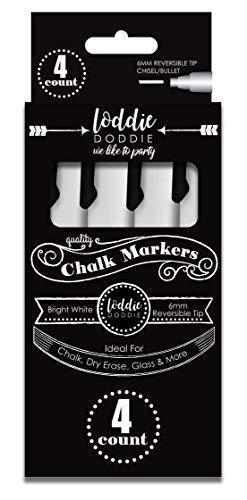 Loddie Doddie - Rotuladores de gis líquida, color blanco brillante, paquete de 4 rotuladores de gis, perfectos para pizarras, pizarras, ventanas, vidrio, Bistro | 6 mm reversible de tinta borrable con punta de cincel y bala reversible